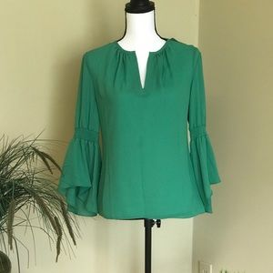 INC International Concepts Tops - I.N.C. Bell Sleeve Clover Patch Blouse
